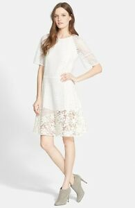 Details About See By Chloé Mixed Lace Short Sleeve Dress Size 40 Us 4