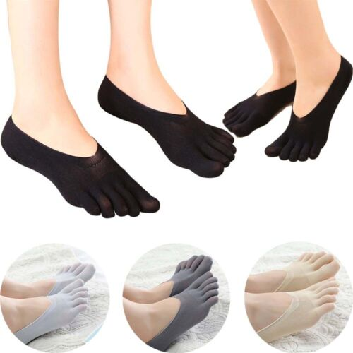 Women Cotton Blend Lace Five Toe Ankle Sock Antiskid Invisible Low Cut Socks