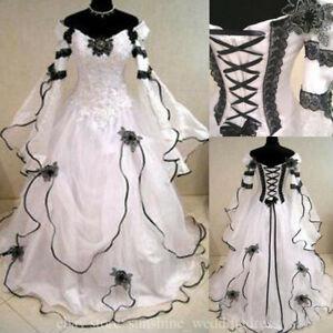 Details about Vintage Plus Size Gothic Wedding Dresses With Long Sleeve  Black Lace Bridal Gown