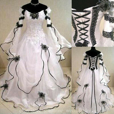 Vintage Plus Size Gothic Wedding Dresses With Long Sleeve Black Lace Bridal  Gown | eBay