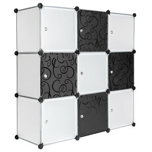 System-Steckregal-mit-Tueren-Schrank-Regal-Kunststoff-Kleiderschrank-schwarz-weiss