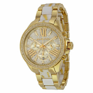 931f73a595c8a Michael Kors MK6157 Wren Gold Tone Crystal Chronograph Quartz Watch ...