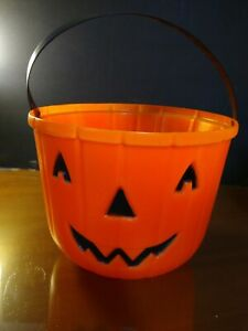 VTG-Large-Empire-Pumpkin-Halloween-Blow-Mold-Trick-or-Treat-Candy-Bucket-Pail