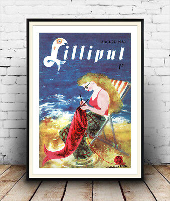 Lilliput August 1950 Vintage magazine cover poster reproduction.