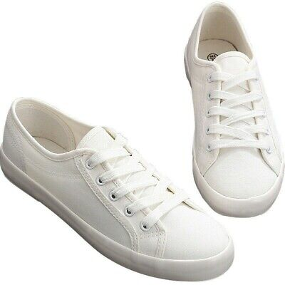 LADIES WOMEN LACE UP WHITE TRAINERS