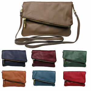Italian Leather Fold Over Clutch and Cross Body Ladies leather bag ... bc7fbc4a8cfa