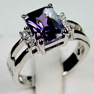 Sz5-10 Purple Amethyst Engagement Ring Women CZ 10Kt White Gold Filled Jewellery