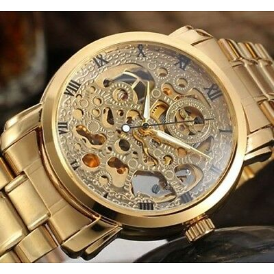 Luxury Mens Watches Skeleton Automatic Mechanical Classic Gold Silver Wristwatch