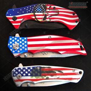 M-Tech USA American Flag Assisted Open Folding Pocket Knife Set NEW