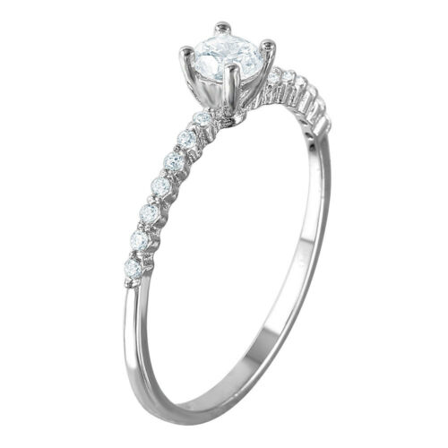 Sterling Silver CZ Stones Ladies Thin Ring