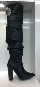 WOMENS-LADIES-FAUX-LEATHER-BLACK-OVER-KNEE-HIGH-SLOUCH-HIGH-HEEL-BOOTS-SIZE-5