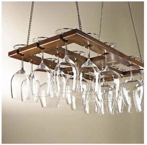 Wine Glass Rack Hanging Stemware Holder Kitchen Storage Bar Space
