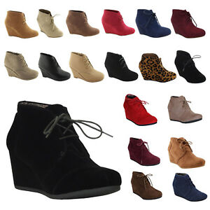 NEW-Womens-Wedge-Booties-Oxford-High-Heels-Ankle-Boots-Shoes-Platform-Black-size