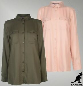 Ladies-Kangol-Button-Fastening-Military-Top-Long-Sleeve-Shirt-Sizes-from-8-to-16