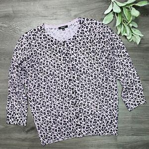 Nordstrom Premise Size Large Lavender Black Animal Print cardigan sweater