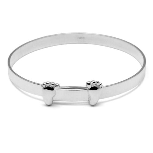 Solid Silver 925 Baby Feet Christening Baptism Naming Day Bangle Present Gift