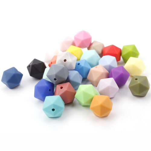 50Pcs Geometric Silicone Teething Beads DIY Baby Chew Sensory Jewelry Teether