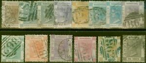 Hong-Kong-1863-71-set-of-14-SG8a-19-Fine-Used-CV-1300