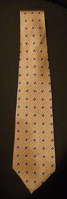 ZYLOS Gold Blue George Machado 100% Silk Neck Tie Printed Italy Made USA