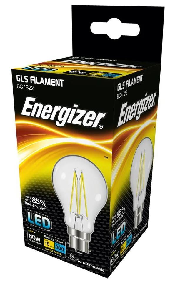 X 20 Energizer 6,2w (= 60w LED GLS Glühlampe Extra Warm Weiß 2700k BC