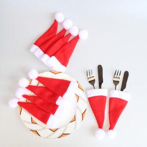 10PCS-Christmas-Caps-Cutlery-Holder-Fork-Spoon-Pocket-Xmas-Christmas-Decor-Bag