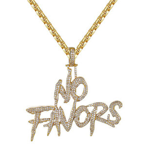 Details about Custom No Favors Rapper Slang Sterling Silver Iced Out  Pendant Gold Finish Chain