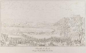 Grabado Antigua 1876: Batalla De'Arcole. Napoleón Bonaparte. Italia
