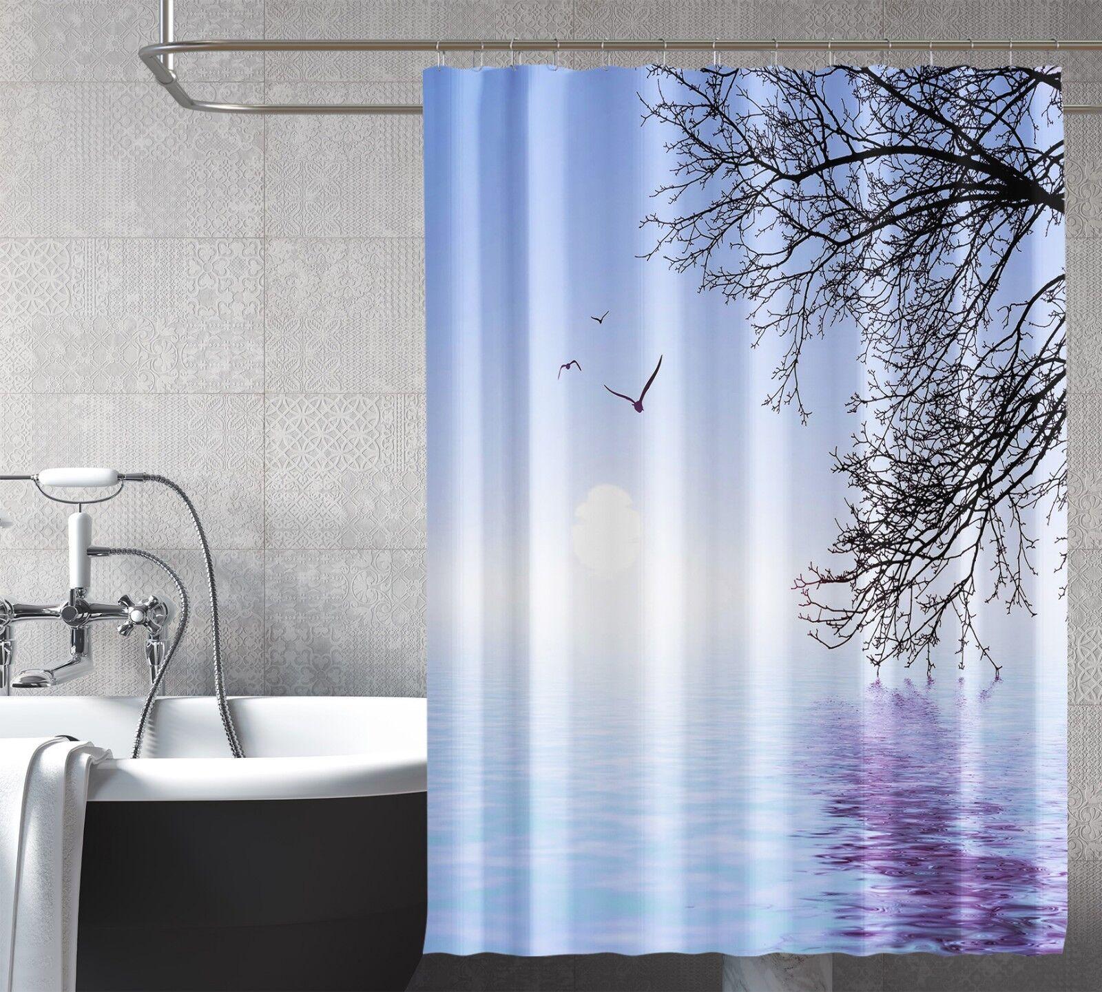 3D Vogel See Baum 72 Duschvorhang Wasserdicht Faser Bad Bad Bad Daheim Windows Toilette | Rabatt  f93d9b