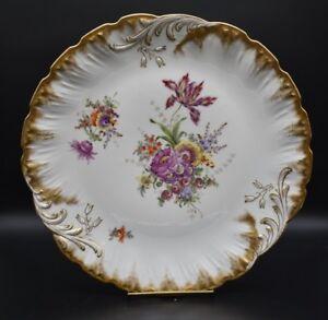 "Helena Wolfsohn Dresden German Hand Painted Flowers & Gold 13 1/4"" Charger"
