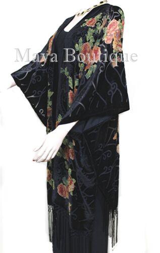 Made Orange Matazaro Black Velvet Maya Kimono Burnout Caftan Usa Roses Tea xvUqYWC8X