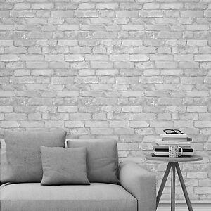 4170c056a3043 La imagen se está cargando Blanco-Plata-Rustico-Papel-Pintado-Efecto- Ladrillo-Windsor-