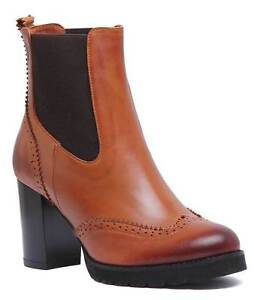 1f1f1abcd86eaf Justin Reece Womens Leather Heeled Hand Made Chelsea Boot Tan Size ...