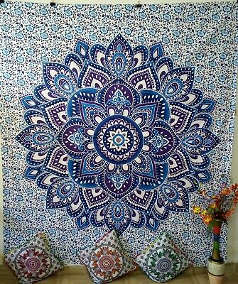 Wonderful Blue Colour Mandala Design Wall Hanging Queen Tapestry Art Bedspread
