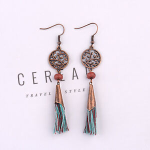 Womens-Fashion-Bohemian-Earrings-Vintage-Boho-Long-Tassel-Fringe-Dangle-Earrings