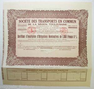 Certificat D Actions: Sté Des Transports En Commun Region Toulousaine ( 765 ) Zapxjeqp-08005734-622281267