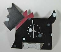 Recycled Metal Scotty Dog Shaped Wall Clock Handmade In Columbia Battery Powered