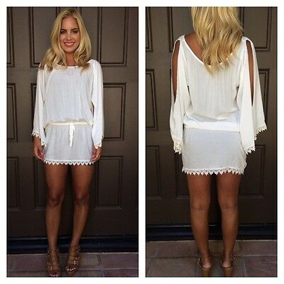 New Womens Lace Chiffon O-Neck Long Sleeveless Tunic Day Shift Beach Mini Dress