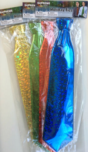"""Pack 4 HOLIDAY PRISMATIC 17/"""" LONG NECK TIES Red Gold Blue Green Funny Clown Set"""
