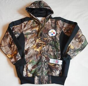newest 49174 a514e Details about PITTSBURGH STEELERS HOODED ZIPPERED HOODIE JACKET MEN'S M L  XL 2X CAMO NWT