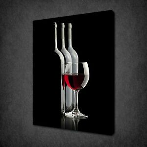 WHITE RED WINE BOTTLES GLASSES KITCHEN BOX CANVAS PRINT WALL ART PICTURE