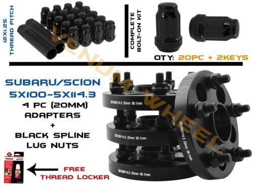 FULL SET OF CONVERSION ADAPTERS 5X100//5X114.3 20MM 20 BLACK SPLINE LUG NUTS