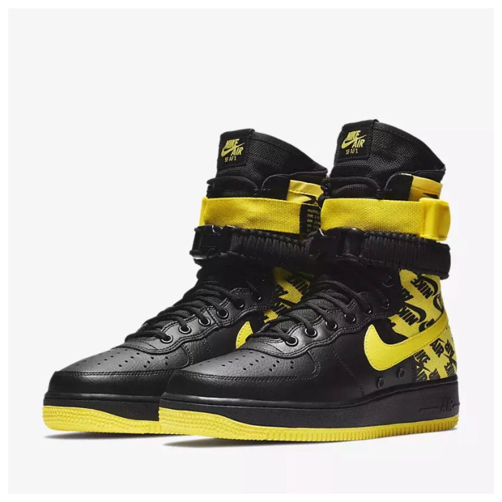 Nike SF AF1 Air Force One High Black Dynamic Yellow Sneakers AR1955-001 Sz 8-11