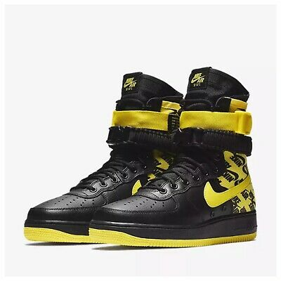 black and yellow high top air force ones