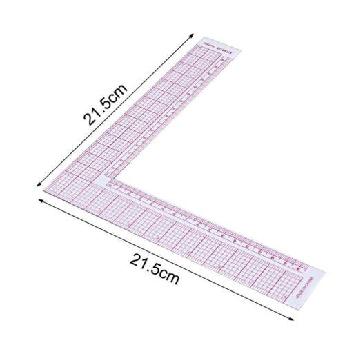 Tailor Drawing Craft Tool L-shape Ruler Sewing Square Curve Ruler Plastic Gauge