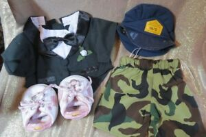 BUILD-A-BEAR-LOT-OF-4-CLOTHING-ITEMS-TUX-SHORTS-SHOES-amp-HAT