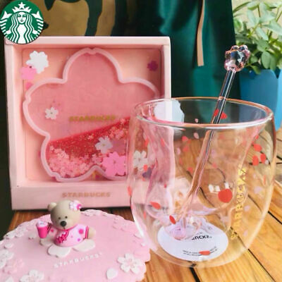 Starbucks Lovely Cat/'s Paw Sakura Double Glass W// Lid/&Stir stick/&Coaster Cup set