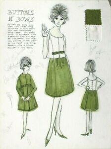 Vtg 1962 Retro Mcm Fashion Designer Presentation Mood Sketch Board 21 Of 40 Ebay