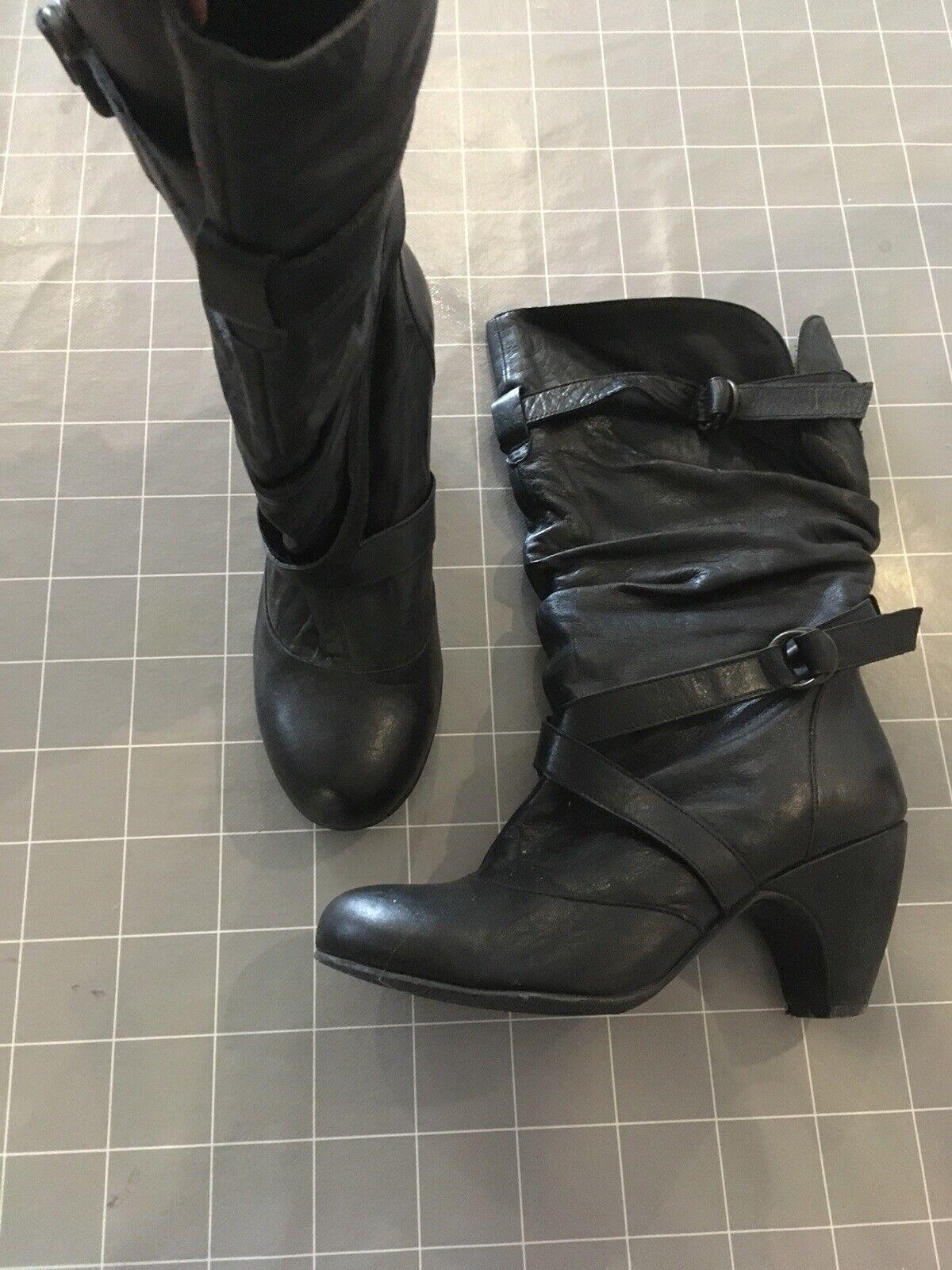 Støvler, str. 38, Bianco , Sort, Læder, Næsten