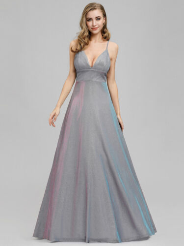 Ever-Pretty V-Neck Formal Evening Dresses Strappy Long A-Line Prom Gown Grey