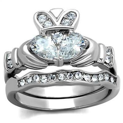 Brilliant 0.39ct Pear Cubic Zircon CZ AAA Engagement Irish Claddagh Ring TK2119